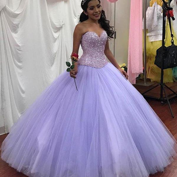 Lilas chérie robe de bal robes de Quinceanera perlée paillettes corset dos tulle robe de bal longueur de plancher robe de reconstitution historique en cristal