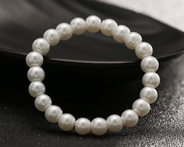 Fashion Women Jewelry Artificial Pearls Bracelet Cheap Beaded Bangle Pure White Faux Pearls Bracelet Wholesale Free Ship