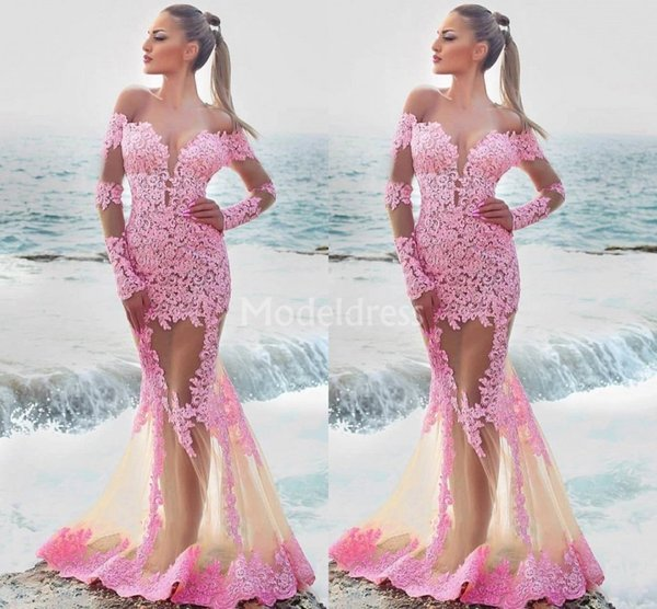 Sexy Mermaid Lace Pink Prom Dresses 2019 Off Shoulder Long Sleeves Illusion Sweep Train Evening Party Gowns Appliques Hot Vestidos De Fiesta