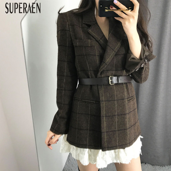SuperAen Wool Suit Jacket Women 2018 Winter Korean Style New Fashion Casual Women Jacket Lattice Long Sleeve Clothing