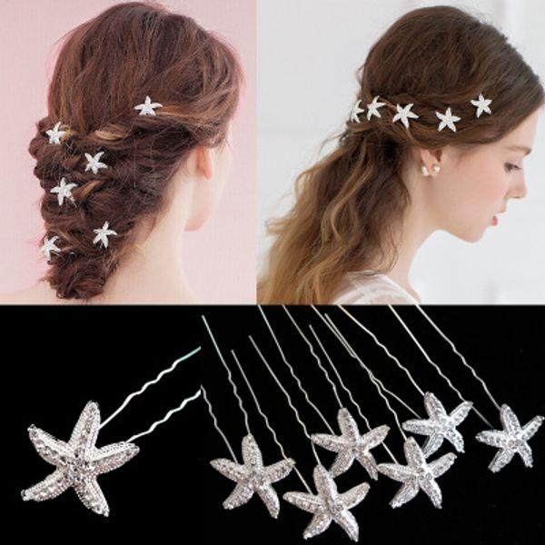 20pcs/lot Korean Style Women Hairpin Girls Hair Accessories Crystal U Shape Starfish Hair Clips Wedding Bridal Barrette Hairclip
