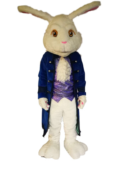 Hot high quality Real Pictures Deluxe Rabbit mascot costume Mascot Cartoon Character Costume Adult Size free shipping