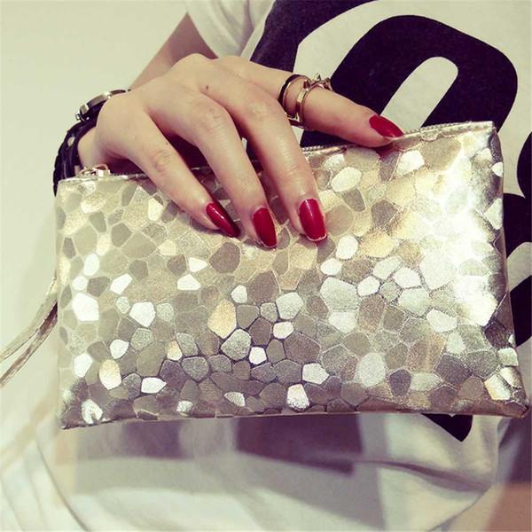 Super Ausgezeichnete Damen Mädchen Handtasche Rosa Gold Blau PU Material Einkaufstasche Geometrische Glänzende Muster Handgelenk Lässige Mode Taschen