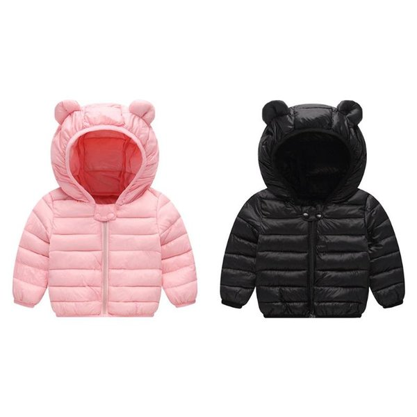 1pcs Light Children Bear Ear Winter Jacket Kids Boys Girls Down Hoodies Coat Light Feather Down Jacket For Girl And