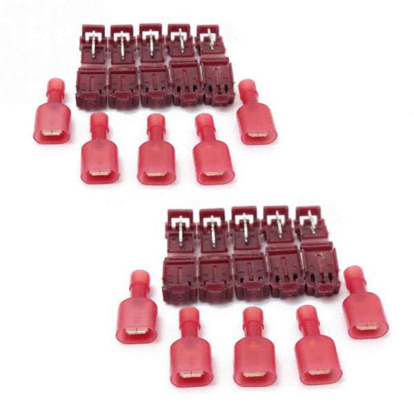 10pcs /set Red Crimp Clip Wire Cable Connectors Terminals Crimp Quick Splice Wire Connector For 22-18AWG