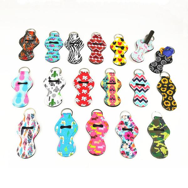 Renkli Neopren Chapstick Tutucu Dudak Balsamı Anahtarlık Kol Kaktüs Şerit Kravat Boya Baskılar Ruj Kapak Anahtarlıklar