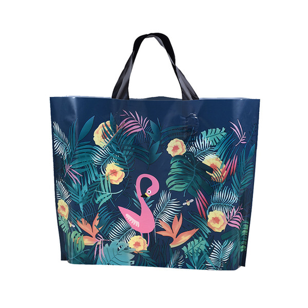 100PCS / LOT Big Supermarket Plastic Bags For Shops Package Jewelry Party Gift Bags With Handles Animal Shopping Bags