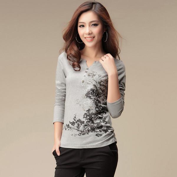 Gráfico Tees Mulheres Camiseta de Manga Longa Camiseta Mulheres Tops Moda 2019 T-shirt de Algodão Camisetas Mujer Camiseta Femme