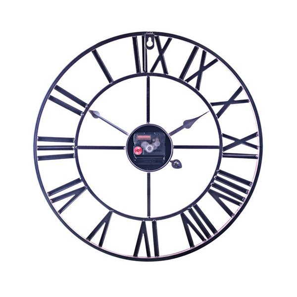 40cm Retro Iron Art Clock Three-dimensional Roman Numerals Silent Wall Clock for Home Decor - Rose Gold