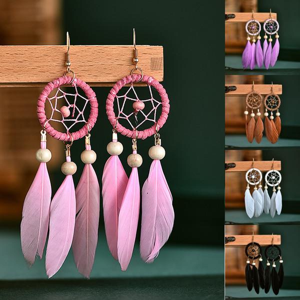 DHL libero 5 colori Boho piuma orecchini di pendente per le donne di fascino dell'annata Dreamcatcher nappa Hook orecchini di goccia