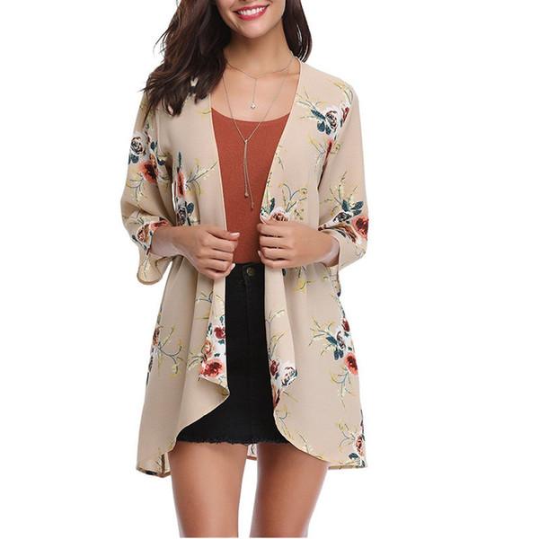 2019 Summer 3XL Plus Size Kimono Women Chiffon Blouses Loose Cardigan Floral Print Tops Vintage Casual Outerwear female tunics