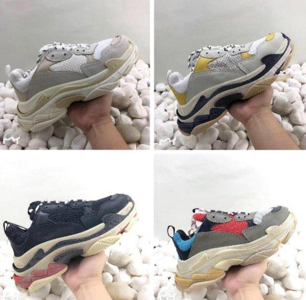 2019 Sınırlı Ucuz Satış womensOld Çok Üçlü S Tasarımcı Düşük Yeni Varış Sneaker Kombinasyonu Tabanı Çizmeler Erkek Bayan Yürüyüş ayakkabı