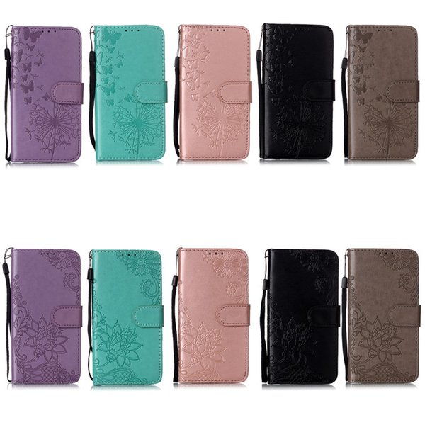Flower lace embo ing imprint wallet with card lot cover ca e for iphone 11 pro max x xr 8 plu am ung 8 9 10 note 10 lg k8 2018