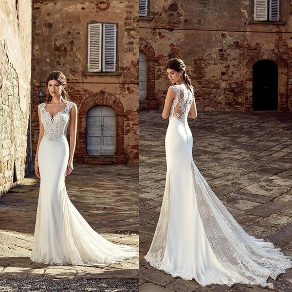 2019 Spring Country Style Mermaid Wedding Dresses with Cap Sleeves Button Back Court Train Lace Chiffon Beach Bridal Gowns
