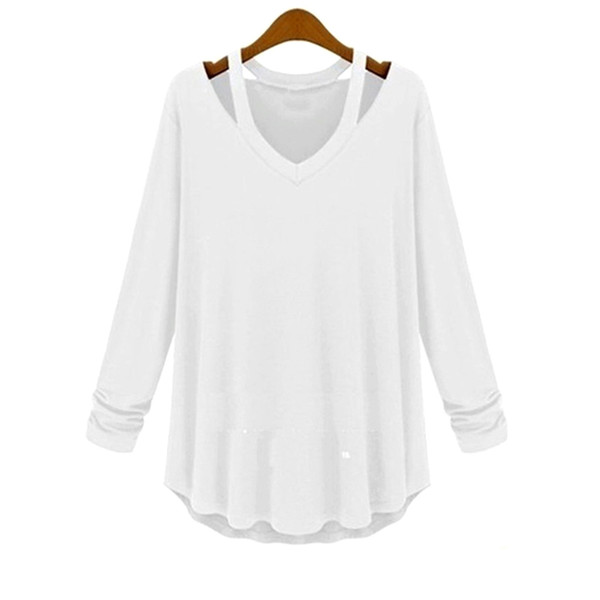 Newest Fall Women Blouses casual off the shoulder Hollow Out Blusas V-Neck Long Sleeve solid color Tops Elegant Shirt
