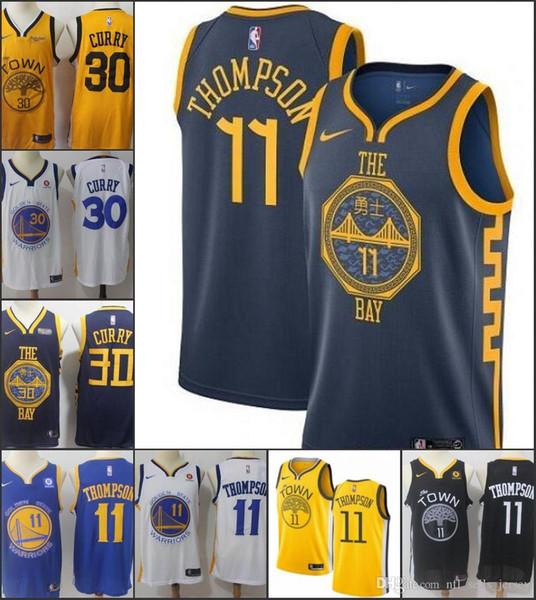 Mens Golden StateKrieger Stephen Curry KlayThompson Draymond Green 2019-20NBA Swingman Basketball Jersey