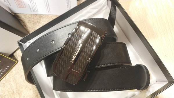 New Men Fashion Quality Genuine Leather Belt Coffee Wide Buckle /<=41 inch  Belt8