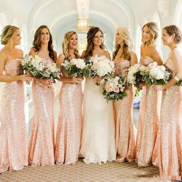 Sparkling rose gold Sequin Mermaid Maid Of honor gown Long Sequin Bridesmaid Dreses floor Length Plus Size wedding Guest dress