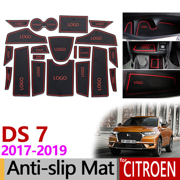 Anti-Slip Gate Slot Mat Rubber Coaster for Citroen DS 7 Crossback 2017 2018 2019 Accessories Car Stickers 20Pcs White / Red