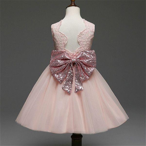 Encantadores niños niñas princesa flor bowknot lentejuelas tul vestidos formal sin mangas niña boda vestido de fiesta falda traje