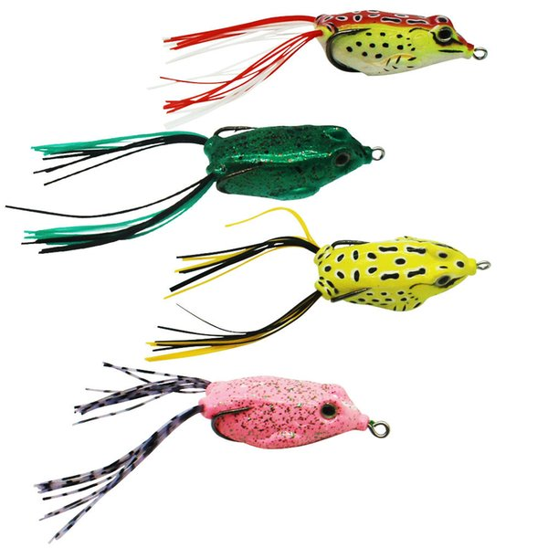 12pcs Rubber Soft Frog Fishing Lures Mixed Color Double Hooks Skirts Topwater Floating Snakehead Bass Fishing Artificial Bait