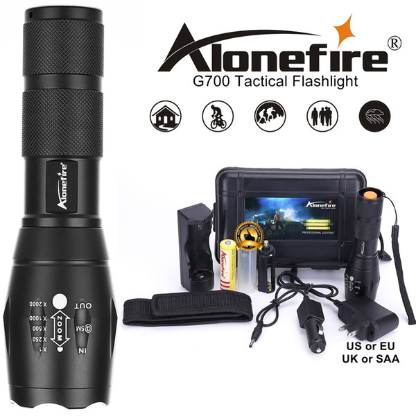 best selling AloneFire G700 E17 Cree XML T6 5000Lm High Power LED Zoom Tactical LED Flashlight torch lantern hike Travel light 18650 Rechargeable battery