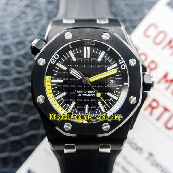 Best version Royal Diver 15706AU.OO.A002CA.01 Black Yellow Date Dial Cal.3120 Automatic Mens Watch Sapphire Glass Rubber Strap Sport Watches