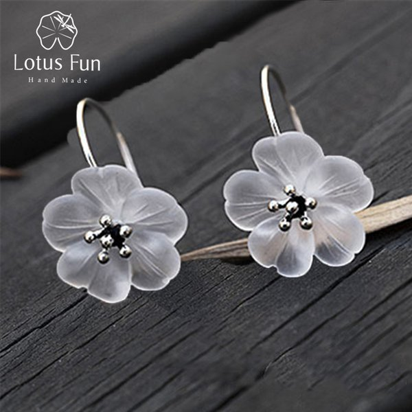 Lotus Fun Real 925 Sterling Silver Handmade Natural Designer Fine Jewelry Flower in the Rain Fashion Drop Earrings for Women Y18110503