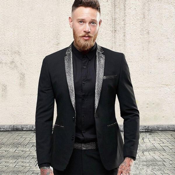 New Stylish Design Groom Tuxedos Two Button Black Notch Lapel Groomsmen Best Man Suit Mens Wedding Suits (Jacket+Pants+Tie) 957