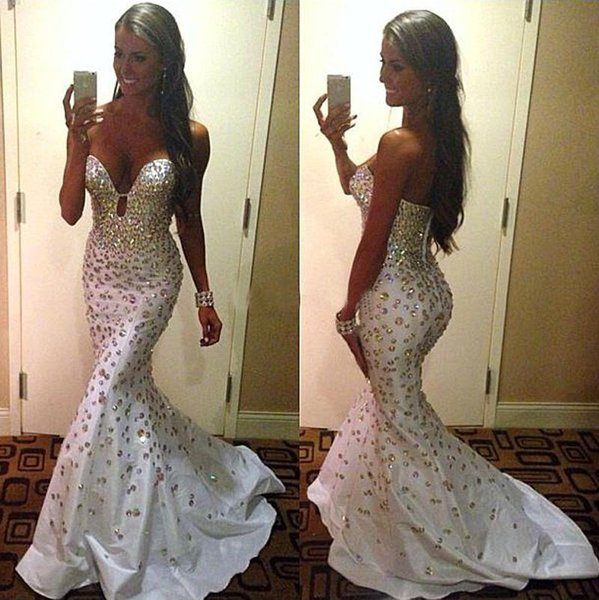 White Rhinestones Prom Dresses Mermaid Sweetheart Sweep Train Mid East Long Dresses Party Evevening Dubai Strapless Party Gowns