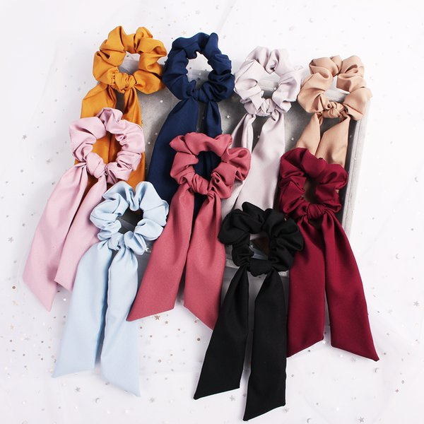 Streamer Hair Ring Fashion Ribbon Girl Elastic Hair Bands Scrunchies Horsetail Tie navy Vintage Women Headwear Hair Accessories 100pcs F325A