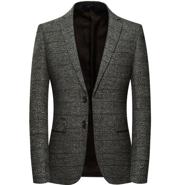 Men Wool Blazer Jacket With Elbow Patch Plaid Tweed Suit Jackets Slim Fit Casual Business Dress Blazer Male Elgland Style M-4xl J190420
