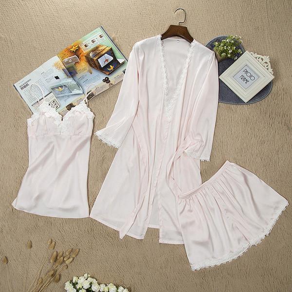 Frauen Pyjamas Spitze Sexy Nachtwäsche Weibliche Sommer Satin Pyjamas für Frauen Pijama Kimono Hochwertige Elegante Seiden Pyjamas