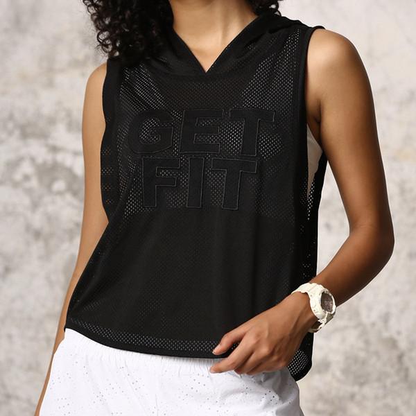 Оптово-Crop Top Женщины сетки Рубашка Фитнес Top капюшоном Letter Printed дышащий жилет Спортивная рубашка Женщины Смок Gym Бег тренировки