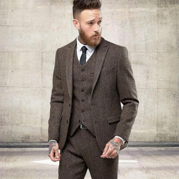 2020 New Two Buttons Tweed Wool Winter Men Suits Formal Skinny Wedding Tuxedos Gentle Modern Blazer 3 Piece Men Suits (Jacket +Pants+Vest)