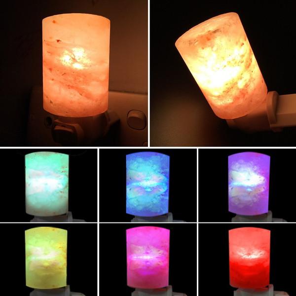 Sal del Himalaya natural Luz de noche Led Purificador de aire decorativo Lámparas de pared Lámpara de luz de cilindro Lámpara de vivero Lámpara de cristal natural