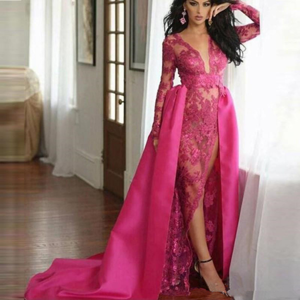 Sexy Fushia Lace Side Split Prom Dresses with Satin Overskirts Long Sleeves V Neck Pageant Cocktail Party Evening Gowns