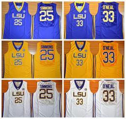 Barato Hombres 33 Shaquille ONeal O Neal 25 Ben Simmon Jersey de baloncesto LSU Tigers College Team Amarillo Morado Lejos blancos Camisetas deportivas Bueno