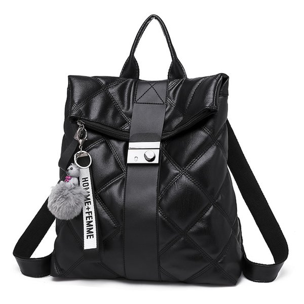 2 Colors Fashion Retro Multifunction Backpack Women Plaid Leather Backpack Lady Small Travel Backpack Bookbag
