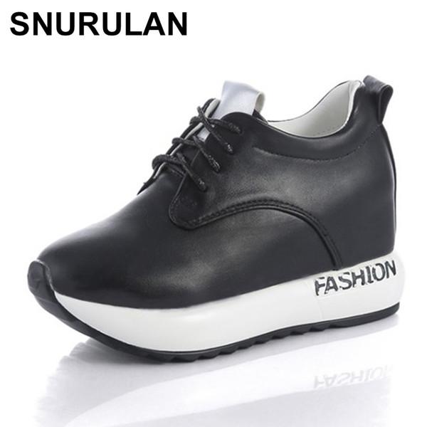 Designer Dress Shoes SNURULAN Autumn Women Sneakers Platform Increased Internal Casual Woman Oxfords Lace up Black White Silver 35-39 E610