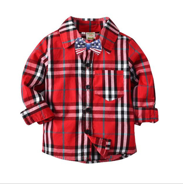Handsome look Boy Red Checkered Shirt Contrast Color Black Checks Shirts Mix Different Size 10pcs/lot