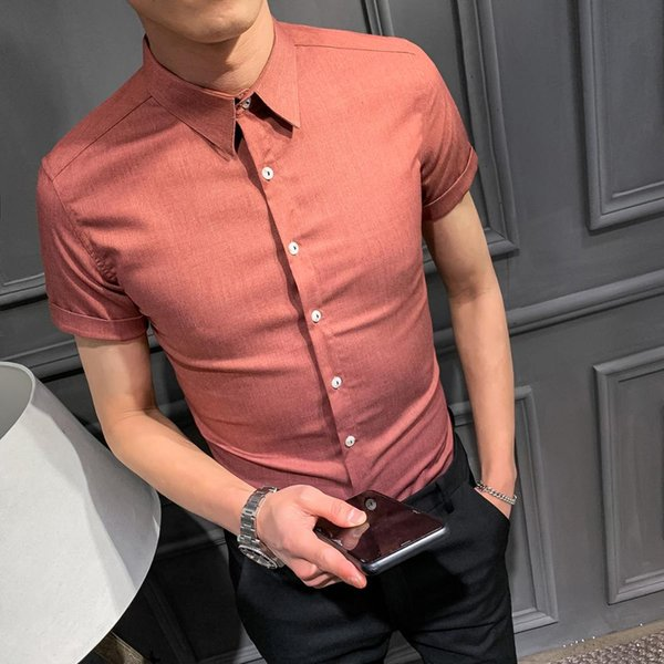 2019 Korean style design short-sleeved shirt men's wild Korean version of the self-cultivation trend handsome shirt