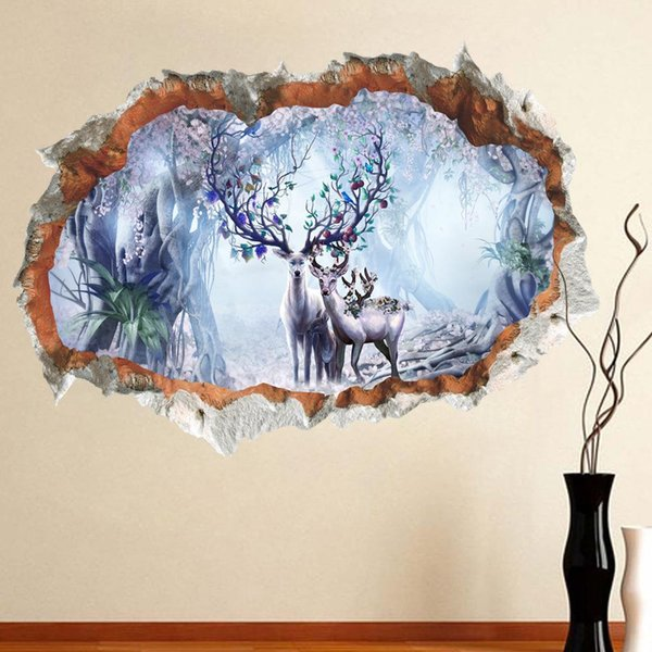 3D Broken Wall Decor Forest Sika Deer Wall Stickers for Kids Rooms Home Decor DIY Animals Poster Mural Wallpaper PVC Wall Decals