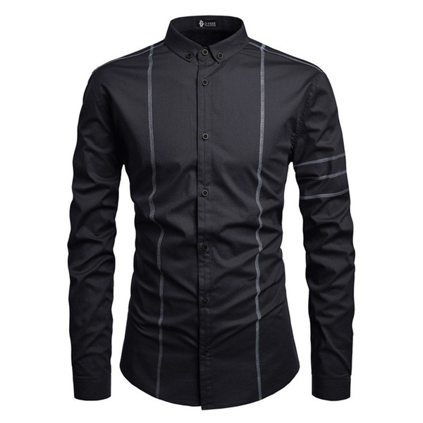Spring Mens Panelled Casual Shirts Fashion Designer Male Long Sleeve Shirts Mens Turn Down Collar Clothing