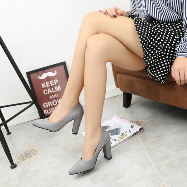 Dropshiping 2019 Kadın Ayak Bileği Kayışı Kalın Topuk Pompaları Kadın Ayakkabı Kare Ayak Orta Topuklu Rahat Elbise Iş Pompaları Bayanlar Sandalet