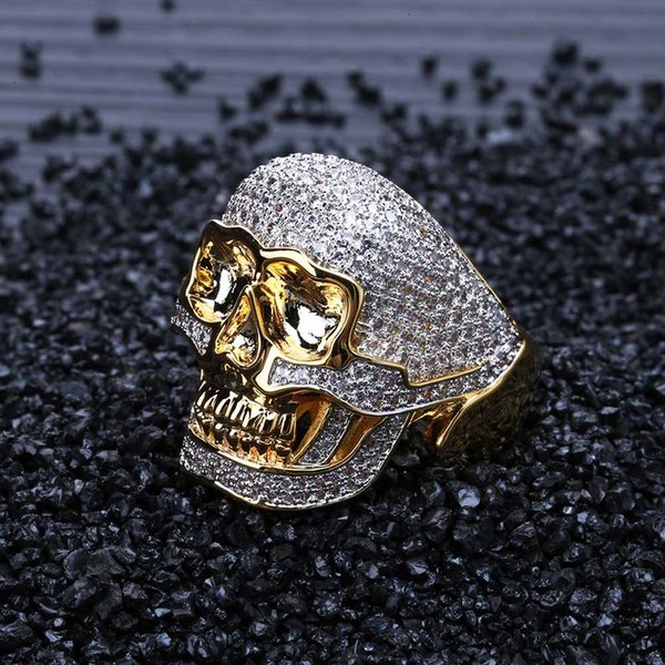Skull Pattern BlingBling CZ Ring Zicron Copper Hip Hop Jewelry Luxury Ring Engagement Rings moda lusso Anelli Wedding Bands