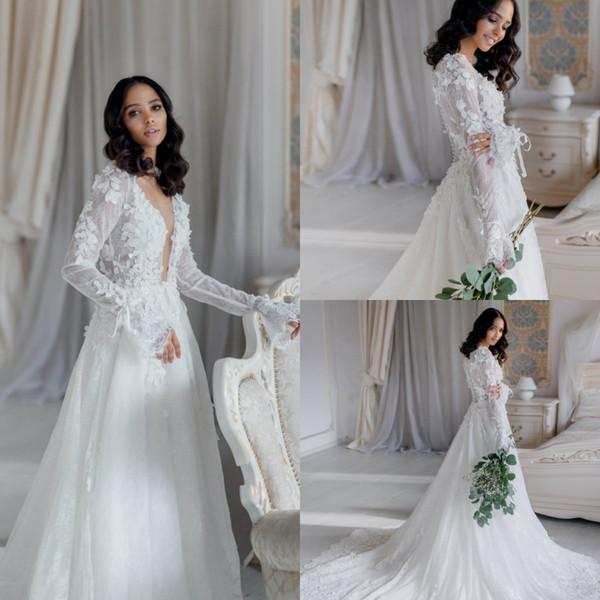 Robes de mariée pas cher taille plus Deep V Neck Lace Appliqued Une ligne balayage train Boho robe de mariée Custom Made à manches longues robes de mariée