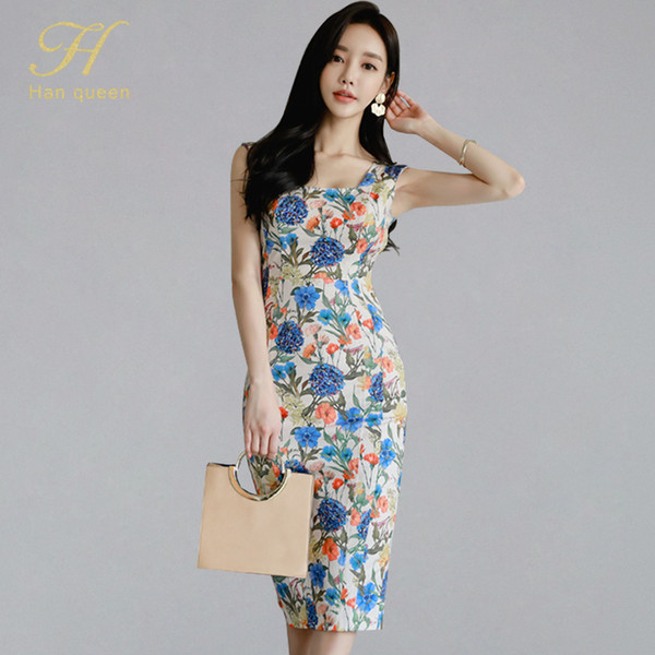 H Han Queen Sleeveless Print Split Bodycon Dress Women Sexy Summer Pencil Bodycon Dresses Boho Retro Flower Slim Sheath Vestisos