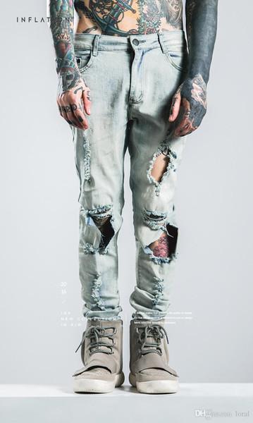 HERREN Hallo-Straße zerrissene Jeans Biker Jean Hosen Löcher Design Original Markenkleidung Lange Hosen Männer Kleidung