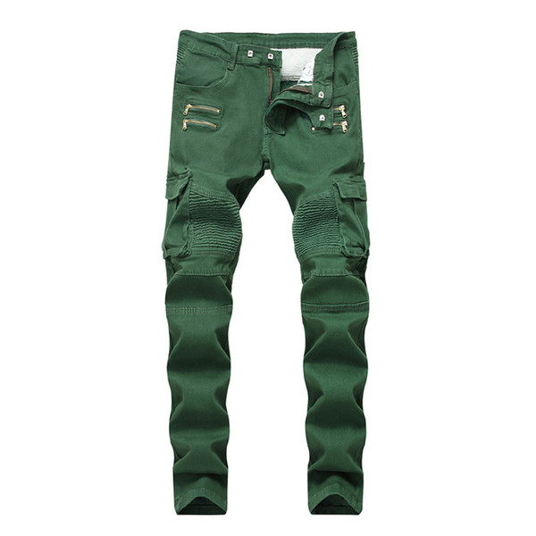 Wrinkled Slim Mid Waist Mens Jeans Army Green Pockets Mens Straight Jeans With Zipper Fashion Male Apparel